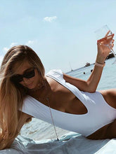 Deep V-neck Short Sleeves One-piece Swimwear
