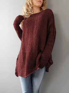 Loose Solid Color Knitting Sweater Tops RED S