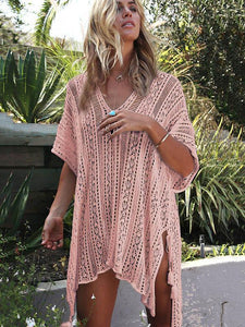 Loose Hollow Vacation Half Sleeve V Neck Beach Cover-Ups APRICOT FREE SIZE