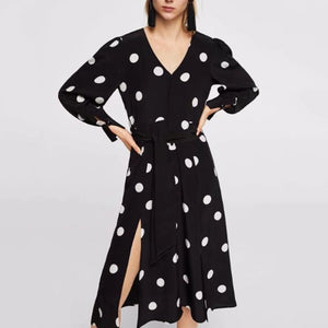 Elegant Polka-Dot V-Neck Maxi Dress black m
