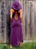 Vintage Raised Bands Forest Maxi Dress PURPLE S