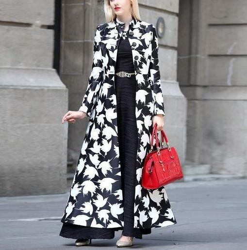 Autumn And Winter   Fashion Prints Warm Long Coats Same As Photo m