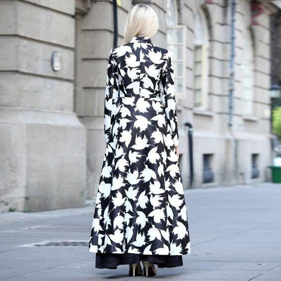 Autumn And Winter   Fashion Prints Warm Long Coats Same As Photo 2xl