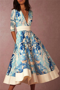 Autumn And Winter   Fashion Prints Swagger Dresses Blue s