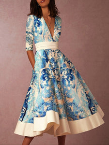 Autumn And Winter   Fashion Prints Swagger Dresses Blue l