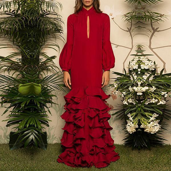 Flash Sale V-Neck Hubble-Bubble Sleeve Multilayer Ruffled Maxi Dress Red m
