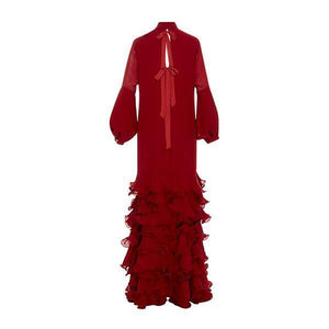 Flash Sale V-Neck Hubble-Bubble Sleeve Multilayer Ruffled Maxi Dress Red xl