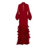 Flash Sale V-Neck Hubble-Bubble Sleeve Multilayer Ruffled Maxi Dress Red l