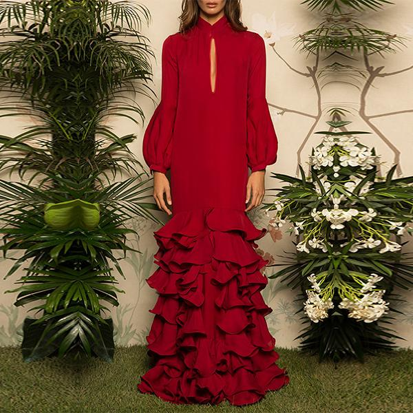 Flash Sale V-Neck Hubble-Bubble Sleeve Multilayer Ruffled Maxi Dress Red 2xl