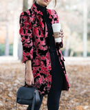 Autumn and winter   fashion prints to trim warm coats Red m