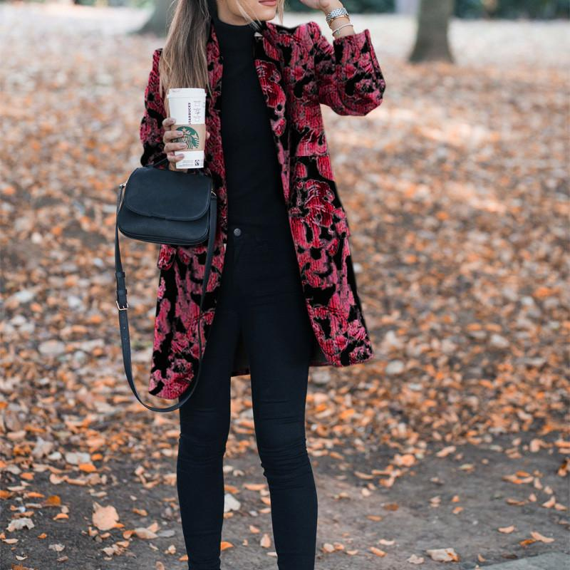 Autumn and winter   fashion prints to trim warm coats Red xl