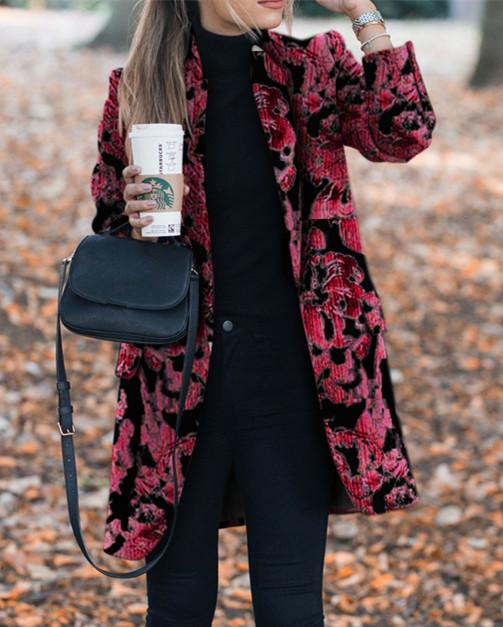 Autumn and winter   fashion prints to trim warm coats Red 2xl