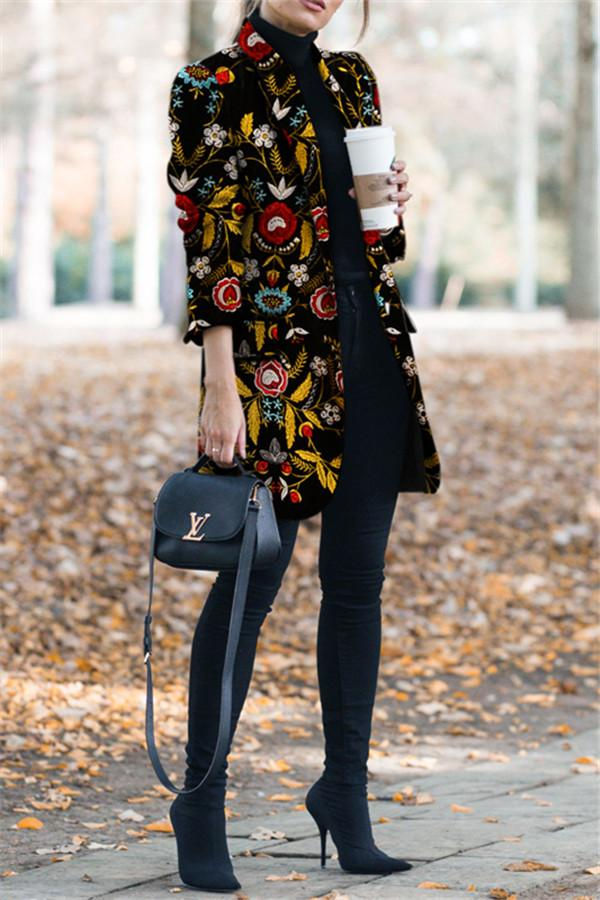 Autumn And Winter   Fashion Printed Long-Sleeved Suit Jacket Same As Photo s