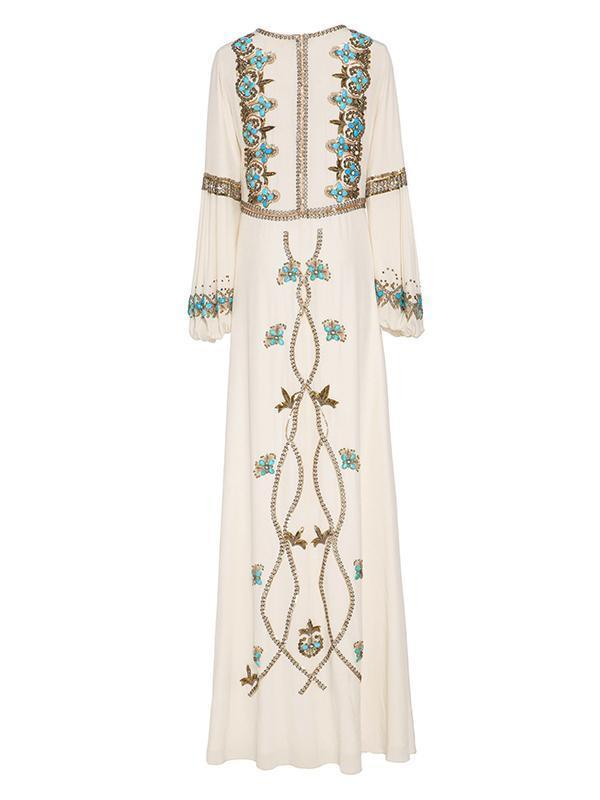 White Embroidered Puff Sleeve Maxi Dress WHITE 2XL