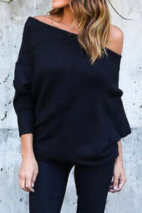 Open Shoulder  Plain  Sweaters black s