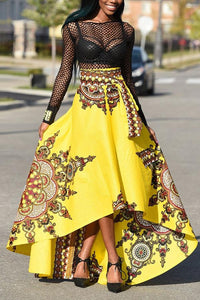 Fashion Floral Printed Maxi Skirt yellow s