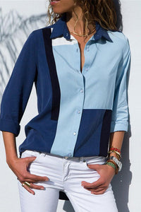 Leisure Long-Sleeved Chiffon Lady Shirt blue 2xl