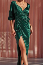 Sexy V Neck Plain High Waist Evening Dress
