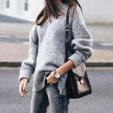 Round Neck  Plain  Basic Sweaters Gray m