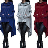 Solid Color Irregular Long Hooded Sweater dark_grey 2xl
