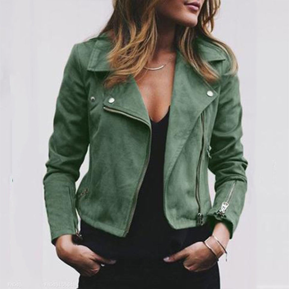 Street Style Zipper Suede Jacket Army Green l