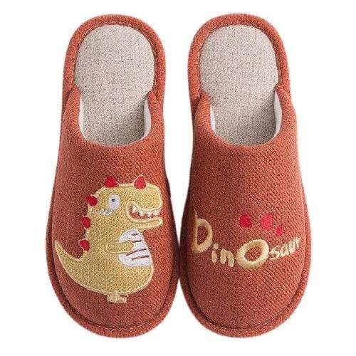 Chaussons Dinosaure Adulte Orange