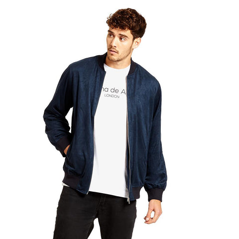FAUX SUEDE BOMBER WITH BLUE PAISLEY LINING/ NAVY BLUE - Alma De Ace - 1