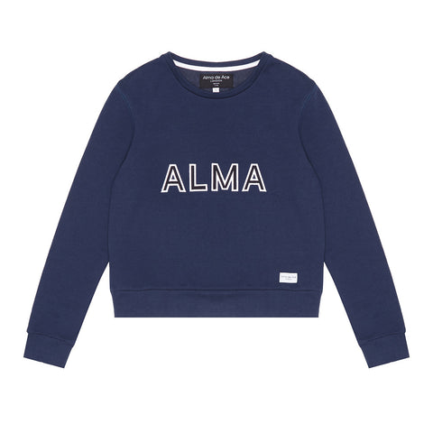 Navy Alma x Ayana Embroidered Sweatshirt - Alma De Ace - 1
