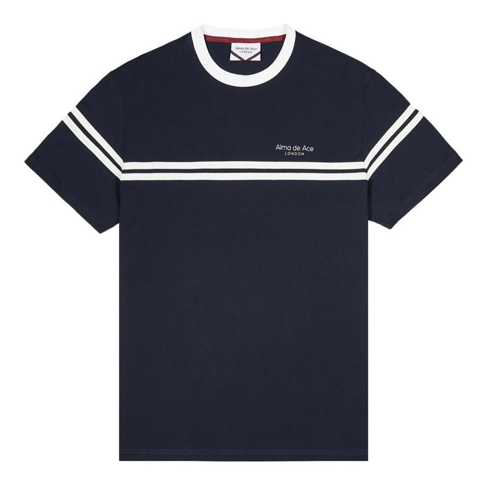 Navy Blue Classics T-shirt with white stripes
