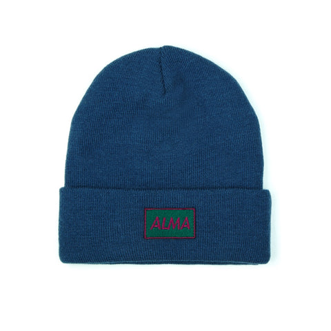 Navy Blue Retro Beanie - Alma De Ace London Streetwear