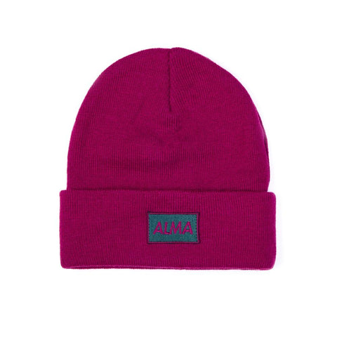 Burgundy Retro Beanie - Alma De Ace London Streetwear