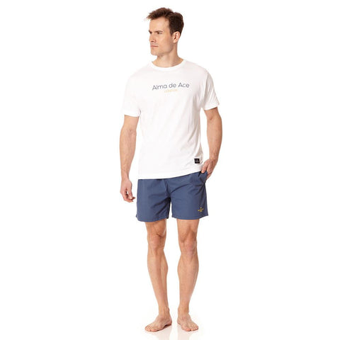 Alma de Ace navy blue embroidered swim shorts - Alma De Ace - 1