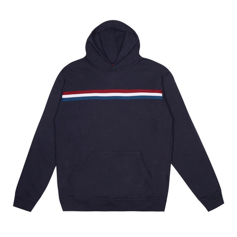 Navy Blue Chest Stripe Hoodie