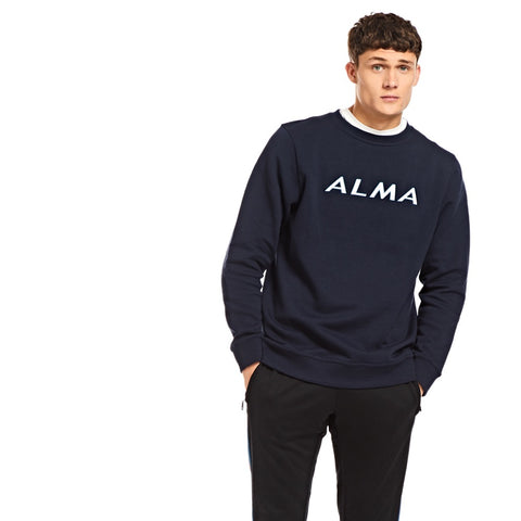 Navy Alma Embroidered Sweatshirt - Alma De Ace London Streetwear