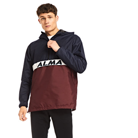 Alma Windbreaker Jacket - Navy/ Burgundy - Alma De Ace London Streetwear