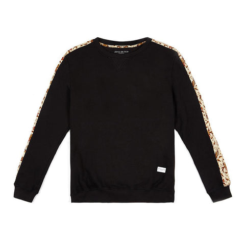 Black Raya Sweatshirt with Fabric Sleeves - Alma De Ace - 1