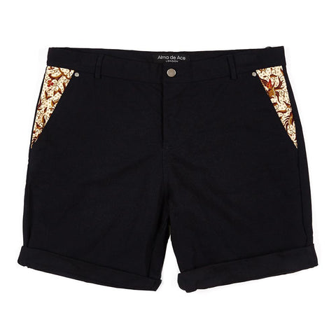 Dark Navy Batu Shorts with fabric pockets - Alma De Ace - 1