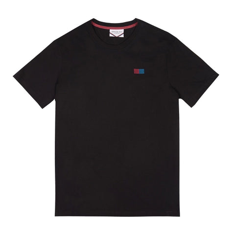 Side Embroidered Flag Logo T-shirt | Black
