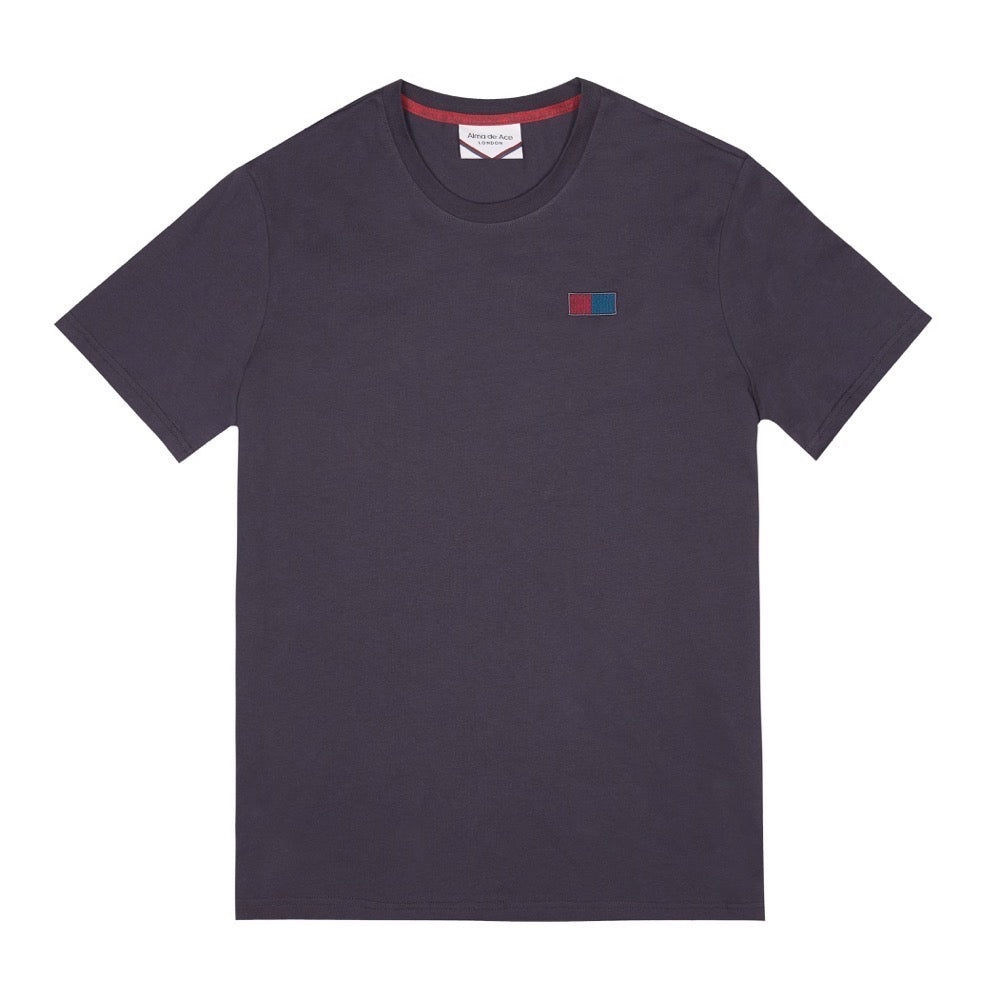 SIDE EMBROIDERED FLAG LOGO T-SHIRT| BLUE