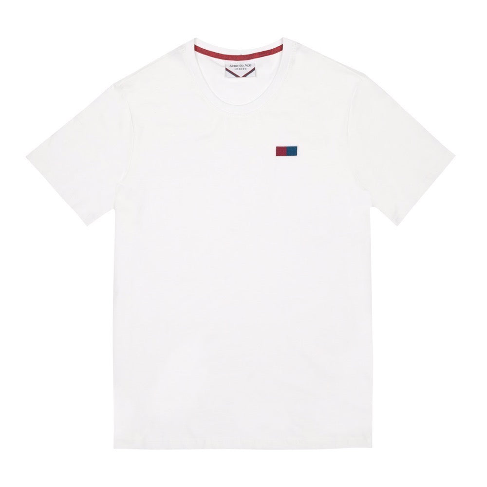 Side Embroidered Flag Logo T-shirt | White