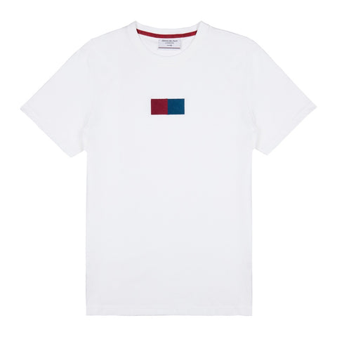 White Embroidered  Flag T-shirt - Alma De Ace London Streetwear