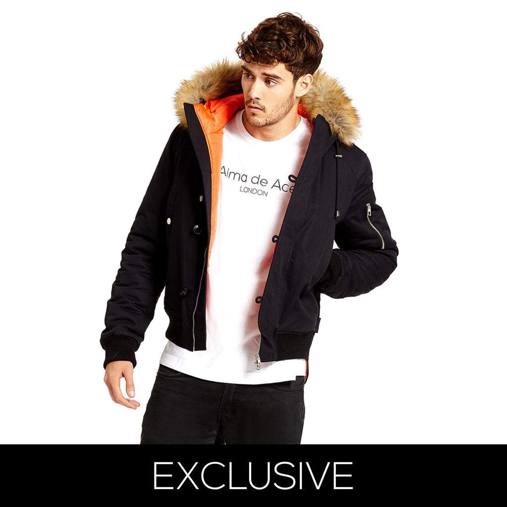 EXCLUSIVE NAVY BLUE PARKA JACKET - Alma De Ace - 1