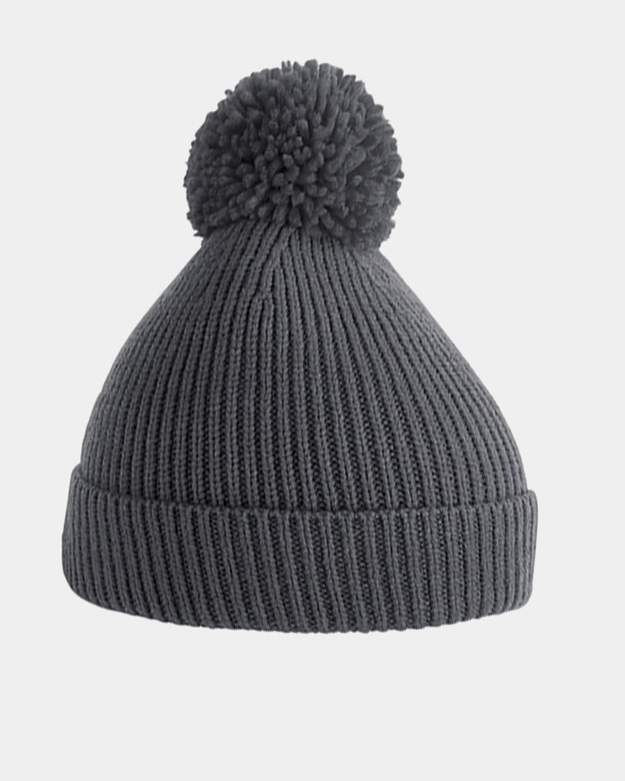 Diamond Pride Basic Knit-Ribbed PomPom-Beanie, dunkelgrau-DIAMOND PRIDE