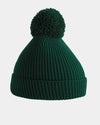 Diamond Pride Basic Knit-Ribbed PomPom-Beanie, dunkelgrün-DIAMOND PRIDE