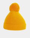 Diamond Pride Basic Knit-Ribbed PomPom-Beanie, gelb-DIAMOND PRIDE