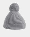 Diamond Pride Basic Knit-Ribbed PomPom-Beanie, hellgrau-DIAMOND PRIDE
