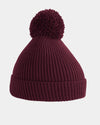 Diamond Pride Basic Knit-Ribbed PomPom-Beanie, maroon-rot-DIAMOND PRIDE