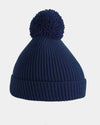 Diamond Pride Basic Knit-Ribbed PomPom-Beanie, navy blau-DIAMOND PRIDE