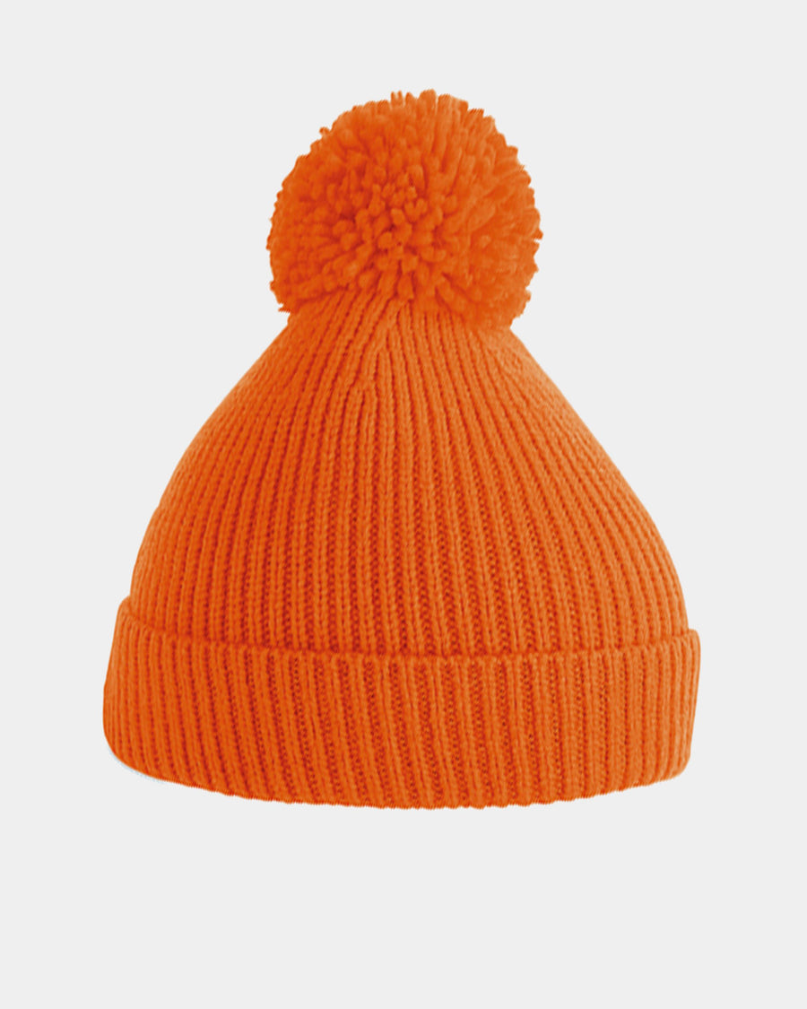 Diamond Pride Basic Knit-Ribbed PomPom-Beanie, orange-DIAMOND PRIDE