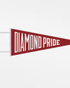 "Diamond Pride Filz Pennant Flag ""Diamond Pride"", maroon - weiss-DIAMOND PRIDE"
